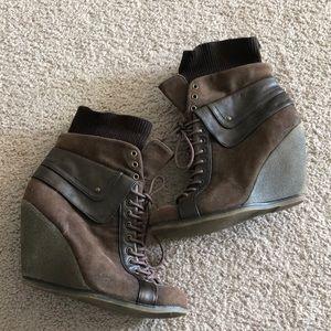 Lace up wedge heel booties